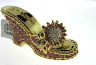 St John Knit Gold Pink Crystal Bee SHOE Jacket NWT PIN