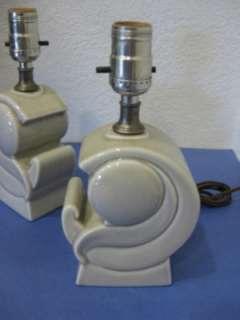 vtg 50s California Pottery Table Boudoir Bedroom Lamps