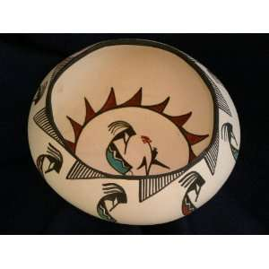 Tigua Indian Pueblo Pottery Bowl  Kokopelli 7 Kitchen