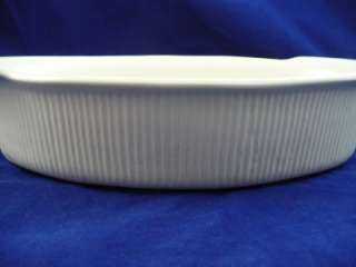 Red Wing USA 556 Whie Oval Handled Ribbed Casserole Dish |