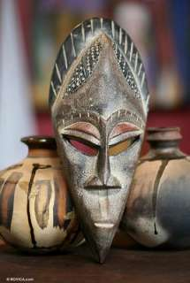 Ghana Akan Hand Carved Wood Mask African Art New: Sculpture, Carvings