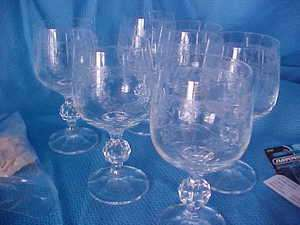 Golfball Stem Wine Brandy Glass Set 6 Crystal Highly Etched