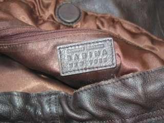 Sabina Used Brown Leather Handbag Purse Hobo Bag