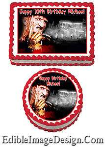 HORROR FREDDY KRUEGER SCARY Birthday Edible Party Cake Image Cupcake