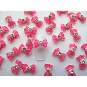 Nail Art 3d 40 Pieces Crystal Hot Pink Bow Flower/Rhinestone for Nails