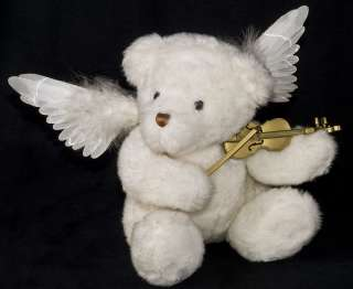 Animated Musical Fiber Optic White TEDDY BEAR Angel Wings Playing