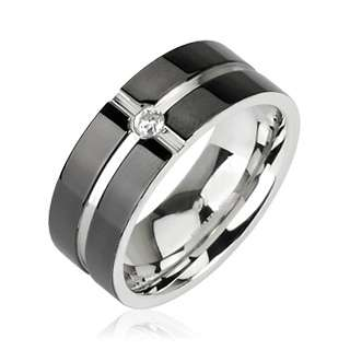 Stainless Steel Black Striped CZ Comfort Fit Band Ring