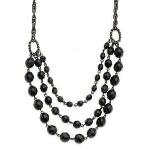Faceted Jet Bead 3 Strand Bib 15in Necklace/Mixed Metal Jewelry