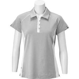 adidas Womens Short Sleeve Color Block Mesh Piped Polo