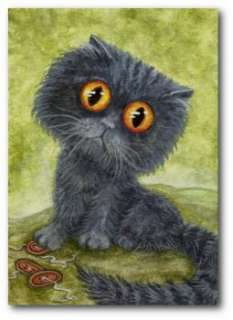 Curious Cats Grey Blue Big Eyed Persian Kitten   BiHrLe ArT LE Print
