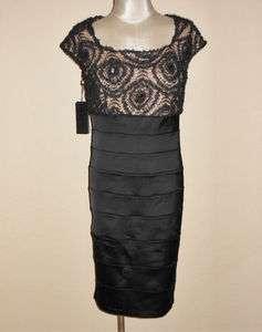 Black Satin & Ribbon Lace Bead Bodice Cocktail Dress 14W $368