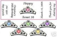 180 Sweet 16 Candy Wrappers/Birthday Party Favors/Tiara