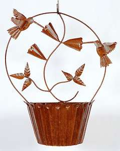 28 Wrought Iron Tin Hummingbird Half Wall Flower Basket Planter Pot