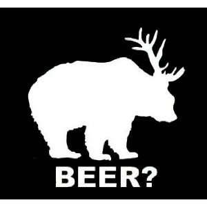 DEER + BEAR = BEER?   Vinyl Decal Sticker 5 WHITE
