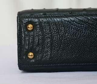 OSTRICH LEATHER Black Top Handle+Strap Flap Bag Handbag Purse Tote