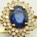 Blue Sapphire Diamond 14K Yellow Gold Vintage Earring Ring Set