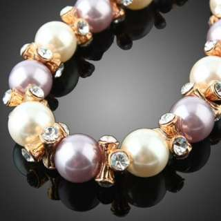 pearls linked bracelet yellow gold plated Swarovski Crystals