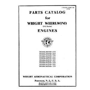 Wright Whirlwind J 6 Aircraft Engine Parts Catalog Manual Wright R