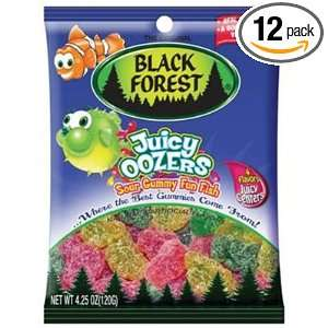Black Forest Juicy Oozers Sour Sanded Fun Fish, 4 Ounce Bags (Pack of