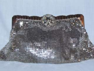 vtg Whiting Davis silver metal mesh clutch purse bag vintage
