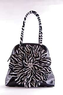 NEW Rhinestone Zip Around Zebra Flower Print PurseBLK