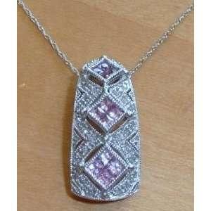 14 Karat White Gold Diamond & Pink Sapphire Pendant Necklace