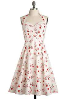 Cherry Valence Dress   White, Red, Pink, Black, Casual, Vintage
