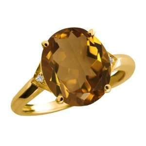 4.31 Ct Oval Whiskey Quartz and Topaz Gold Plated Sterling
