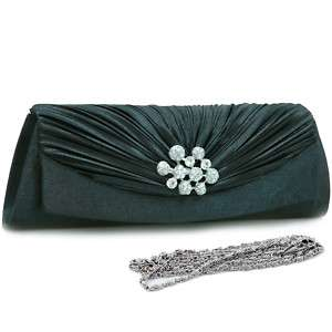 Pleated flap over front clutch evening purse bag black