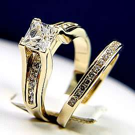 3pcs TUNGSTEN Gold GP MENS WOMENS Wedding Band Ring SET