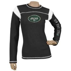 Womens / Ladies Black Jersey Style Long Sleeve Waffle Thermal T shirt