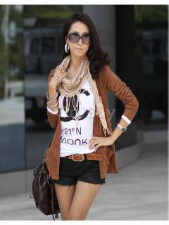 Fashion Womens Basic Casual Solid Single Breasted Long Sleeve Jacket