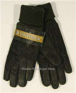 NWT Womens ISOTONER Suede Leather Stretch Gloves BROWN