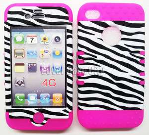 Black Zebra Print Hard Cover + Pink Soft Case 2 in 1 Skin For Apple
