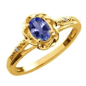 46 Ct Oval Blue Tanzanite White Diamond Yellow Gold Plated Silver