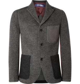 Blazers  Single breasted  Contrast Panel Wool Blazer