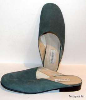Paradox womens low heel mules shoes 7 B green suede
