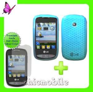 Screen Shield + BLUE TPU Case Cover for NET 10 LG 800G