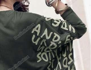 Neck Batwing Dolman Short Sleeve Letter Prints Tops Blouses T Shirts