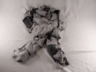 Black Grey 2tone jersey knit fabric lightweight 72 long ruffled scarf