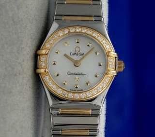 Ladies Omega Constellation 18K Gold & SS Watch   DIAMOND BEZEL   1365