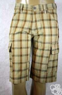 LEVIS JEANS Cargo Sits Below Waist Relaxed Fit Khaki Plaid Mens Shorts
