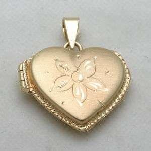 Estate 14k yellow gold HEART locket pendant Flower