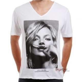 Eleven Paris T Shirt Männer Herren Shirt KM V Ausschnitt Kate Moss