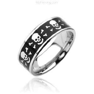 316L Surgical Stainless Steel Rings. Black with Laser Ingraved Skull