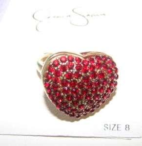 NWT Jessica Simpson gold/red rhinestone heart ring sz 8