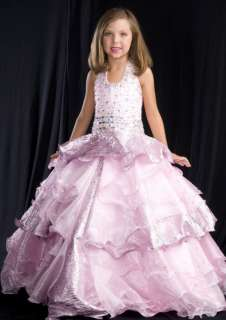 Sugar 81149S Iced Pink Pageant Ball Gown Dress 8