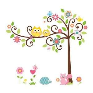 Repositionable Scroll Tree Wall Stickers Set, 73 Pieces