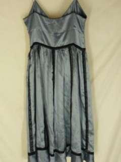 Lil Anthropologie Blue Silk Dress 4 Black Lace Trim Cocktail Clugging