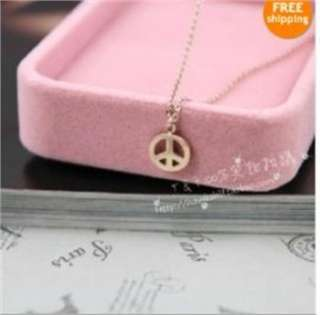Cool Fashion Necklace peace sign Pendants COLORFUL x18 gold great gift